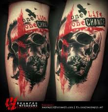 skull one life one chance tattoo tattoos eduardo fernandes
