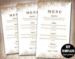 menu templates for weddings wedding menu cards etsy