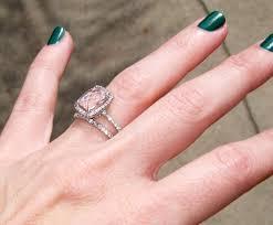 light pink engagement rings my engagement ring wedding band morganite pave diamonds