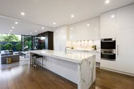 marble island kitchen white no hardware high gloss cabinets white marble island
