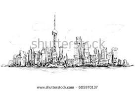 sketch cityscape shanghai show architecture bulding stock vector