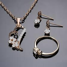 pendant necklace earring images Romantic heart pendant necklaces jewelry set exquisite earring jpg