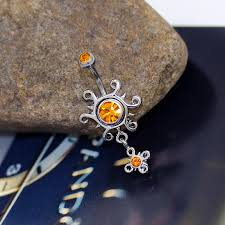 rippling sun yellow rhinestone belly button navel ring