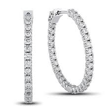 diamond hoops 2 7 8 carat diamond prong set hoop earrings in 14k gold