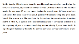 netflix has the following data about its monthly m chegg com