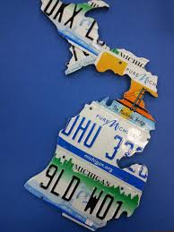 State Of Michigan Map by State Of Michigan Map Handcrafted Recycled License Plates Unique