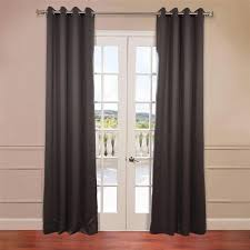 charcoal grommet top blackout curtain panel pair solid gray panels pair