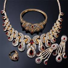 aliexpress necklace set images Bridal jewelry sets 18k gold plating big stone high fashion jpg