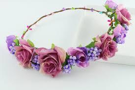 hair wreath purple hippie flower garland crown festival wedding hair