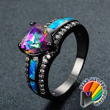 stone wedding rings images Heart of rainbow luxurious vintage style opal stone heart shaped png