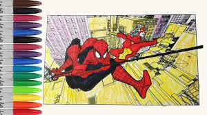 spiderman make team with spider woman coloring pages sailany
