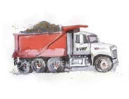 red dump truck print kids construction trucks wall art