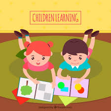 cute background of happy children learning free vector