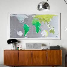 Large Framed World Map by Large Framed World Map
