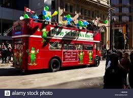 double decker bus saint patrick u0027s day parade toronto ontario