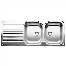 Blanco Cm Tipo Right Hand Double Bowl Stainless Steel Inset With - Double drainer kitchen sink