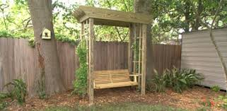 a backyard how to build a backyard arbor swing today s homeowner