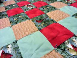 patchwork cardinal and chickadee wall lap vintage blanket