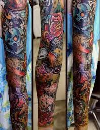 crazy skull and vampire tattoo sleeve best tattoo ideas gallery