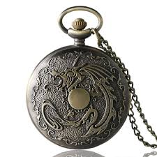 necklace watch images Retro bronze cool fire dragon pocket watch fob necklace chain jpg