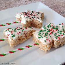 christmas rice krispies dipped in white chocolate the casual