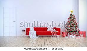 christmas tree decorate on modern living stock illustration