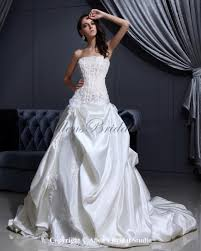 allens bridal satin and lace strapless cathedral train ball gown
