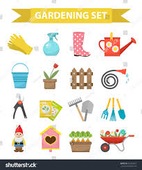 gardening icon set flat style garden stock vector 552402427
