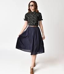 pleated skirt vintage style navy blue knee length pleated skirt unique vintage