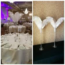 24 eiffel tower simple inspired ostrich feather centerpiece