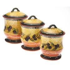 international french olives 3 pc kitchen canister set