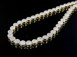 necklace making chains images 10k yellow gold diamond cluster 4 mm pave chain necklace 7 5 ct jpg