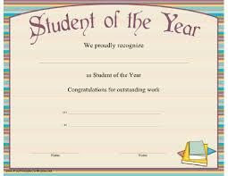 student of the year award certificate templates certificate street