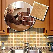 Amazoncom Self Adhesive Backsplash Wall Tiles Home  Kitchen - Self stick kitchen backsplash