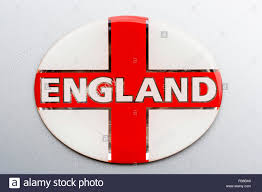 Flag Red With White Cross White Badge With English Flag St George Red Cross And The