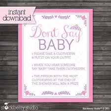 baby shower clothespin princess baby shower don t say baby pink baby shower