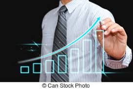 growing chart businessman showing a growing chart during a meeting stock photo