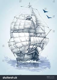 boat on sea drawing sailboat vector stock vector 457429294