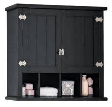 bathroom black wooden wall cabinet with utility shelf and towel
