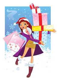 royalty free illustration of a young woman shopping for christmas