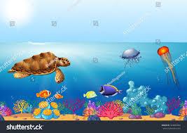 sea animals swimming under ocean illustration stock vector
