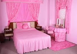 decor pretty room ideas using pink bed and black fur for bedroom