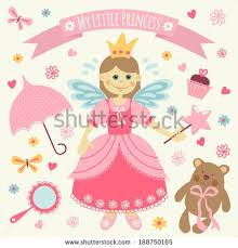 set accessories little princess template greeting stock vector