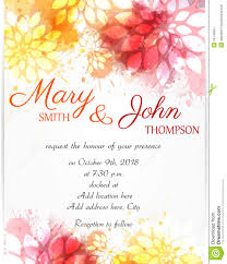 Invitation E Card Wedding Invitation Template With Abstract Flowers Stock Vector