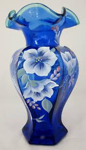Antique Cobalt Blue Vases Fenton Cobalt Blue Vase Hand Painted Signed 75th Anniversary