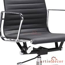 Office Chair Front Eames Style Low Back Aluminum Ribbed Office Chair In White Leather