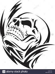 human skull tattoo design vintage engraved illustration stock