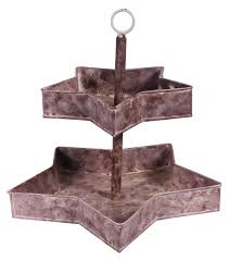 2 tier cake stand u2013 star shaped shelves u2013 cast in iron u2013 brown