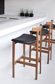 Modern Wood Bar Stool Furniture Earhart Modern Barstool Rustic Wood Brass Doorman