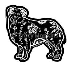 australian shepherd illustration australian shepherd decal sugar skull aussie decal